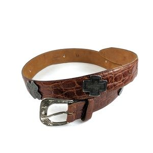 Harold's Two Tone Leather Belt Crocodile Brown Med